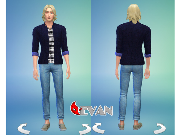 Sims 4 Evan jeans blue Set by woodenhalo at The Sims Resource