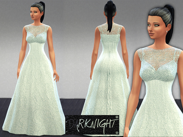 Sims 4 Embellished Blue White Dress by DarkNighTt at The Sims Resource