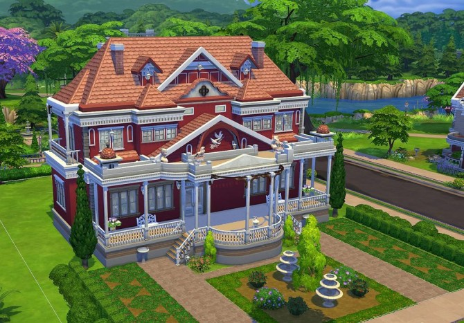 Colonial romantic house at jarkad sims 4 blog sims 4 updates for Classic house sims 4