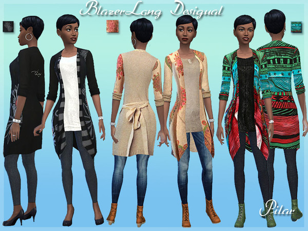 Blazer Long Desigual by Pilar at The Sims Resource image 704 Sims 4 Updates