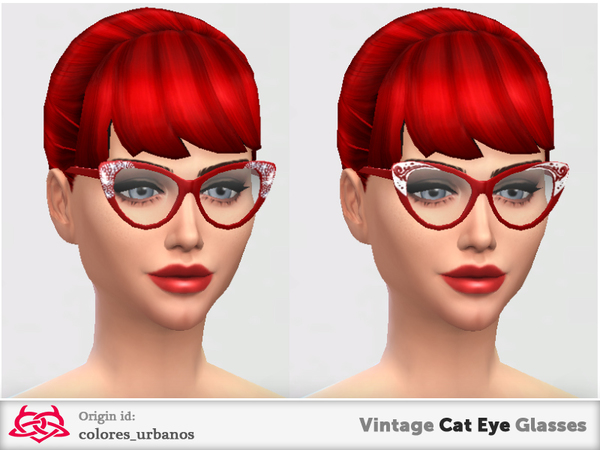 Sims 4 Vintage Cat Eye Glasses by Colores Urbanos at TSR