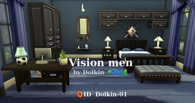 Vision men bedroom and study by dolkin at ihelensims for Bedroom designs sims 4