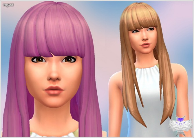 Sims 4 Super long hair with short bangs at David Sims
