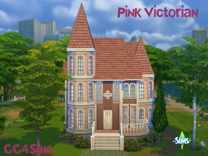 Sims 4 Pink Victorian house by Christine at CC4Sims