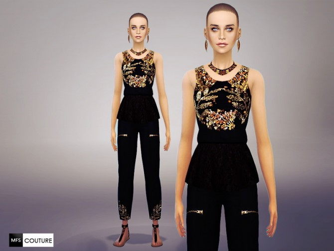 Golden Queen Top, Pants, Necklace + T Sandals at Missfortune Sims image 806 Sims 4 Updates