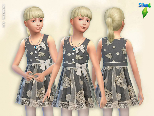 Sims 4 Tulle Dress with Embroidered Flowers by lillka at TSR