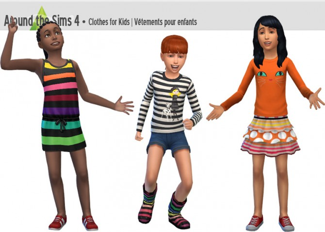 Sims 4 Skirt, t shirt and dress for kids by Sandy at Around the Sims 4