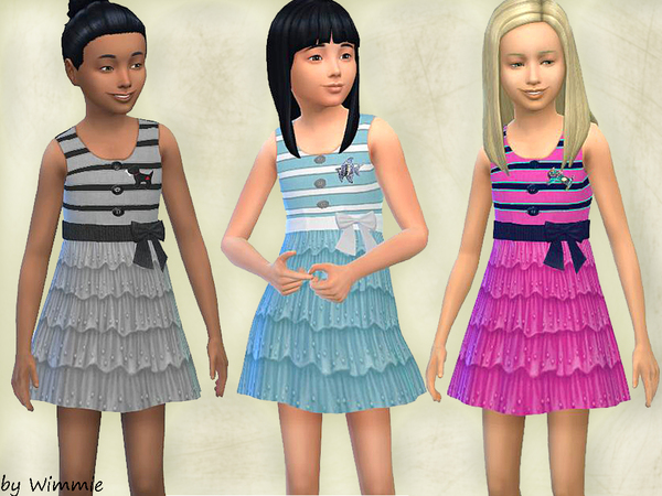 Sims 4 Sundress with ruffles by Wimmie at TSR
