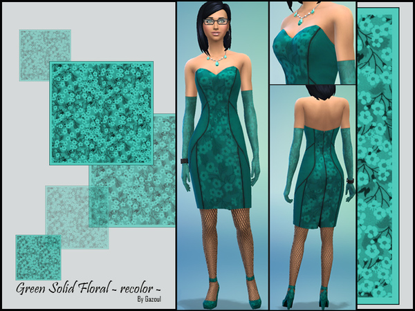Sims 4 Green Floral Solid Recolor Set by Gazoul at The Sims Resource