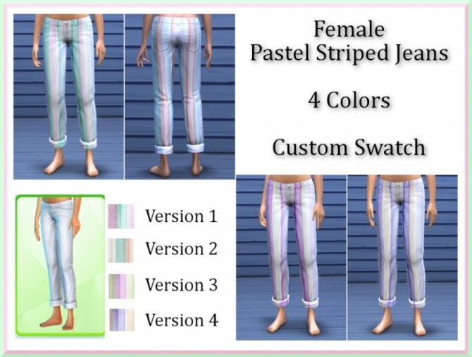 Sims 4 Female Pastel Striped Rolled Jeans by InaMac69 at Simtech Sims4
