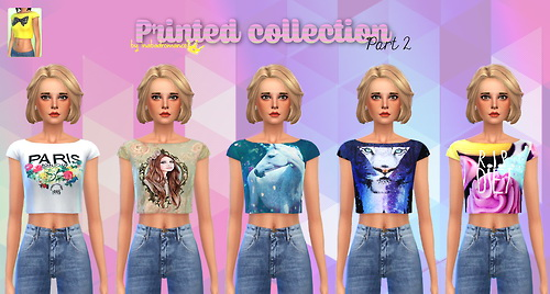 Sims 4 5 Cropped Bow Top recolors at In a bad Romance