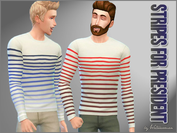 """Stripes for President"" Sweatshirts by Waterwoman at Akisima image 837 Sims 4 Updates"