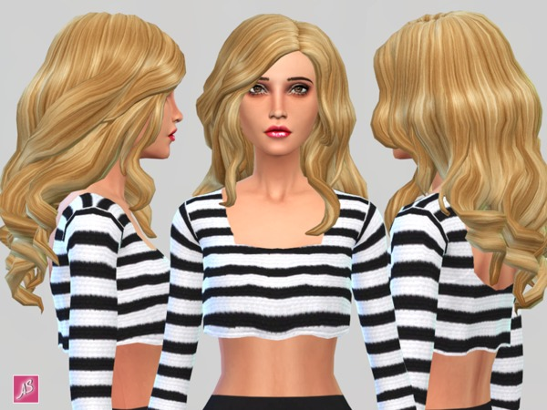 Blonde Ambition Long Wavy Over Shoulder hair by Alexandra Sine at The Sims Resource image 8615 Sims 4 Updates