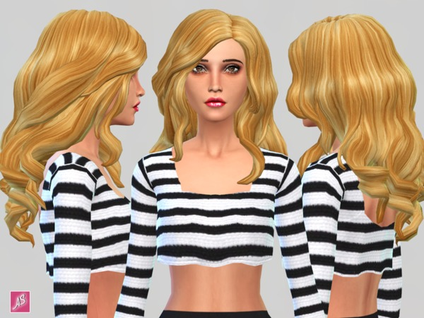 Blonde Ambition Long Wavy Over Shoulder hair by Alexandra Sine at The Sims Resource image 8717 Sims 4 Updates