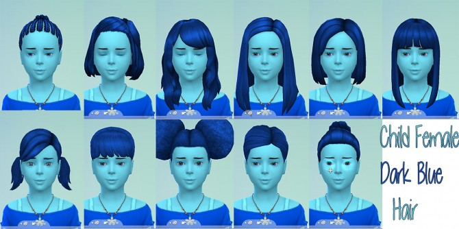 Sims 4 Dark blue hair and brows for kids at Star's Sugary Pixels
