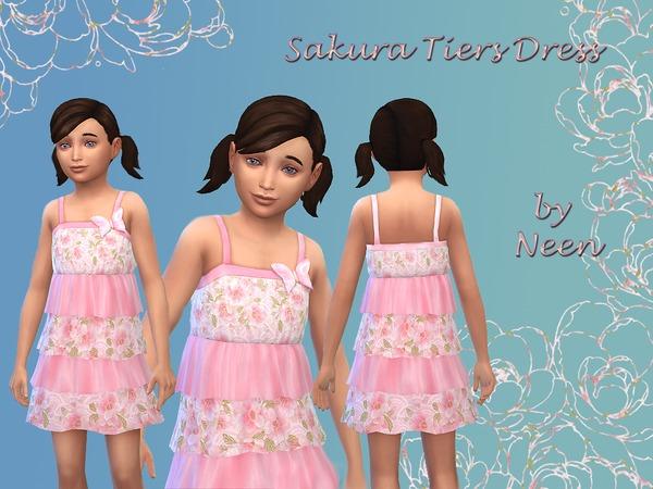 Sims 4 Sakura Tiers Dress by neenornina at The Sims Resource