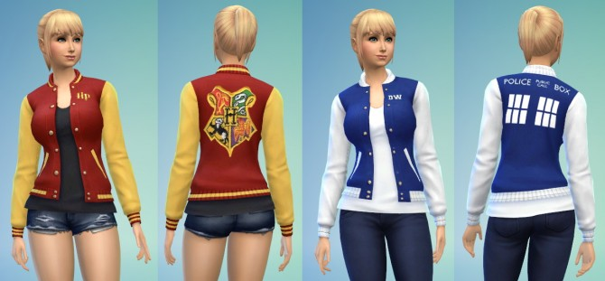 Sims 4 HP & DW Letterman Jackets at Adventures in Geekiness