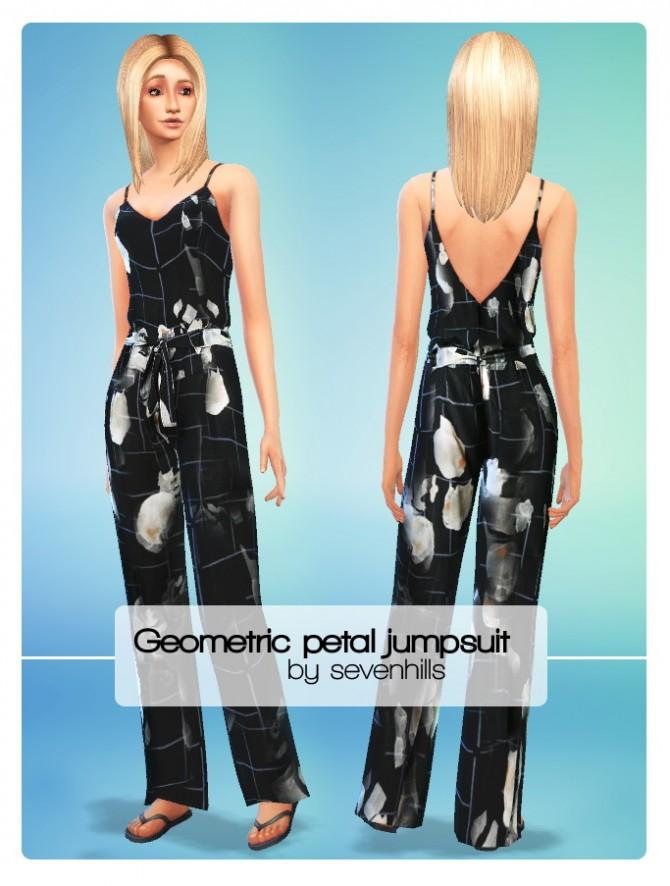 Geometric petal jumpsuit at Sevenhills Sims image 936 Sims 4 Updates