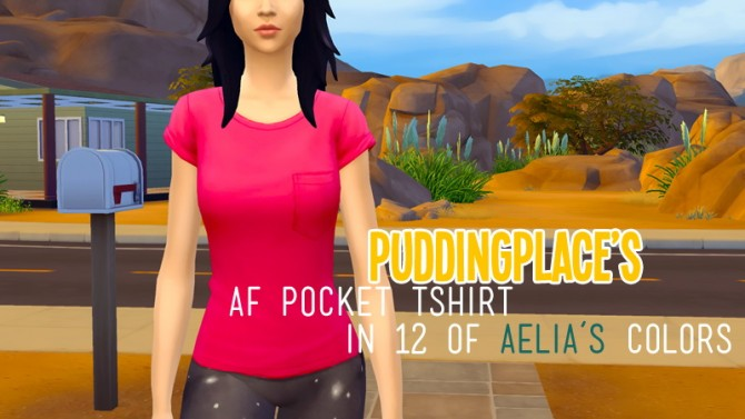 Sims 4 AF pocket t shirt in 12 of Aelias colors at Pudding Place
