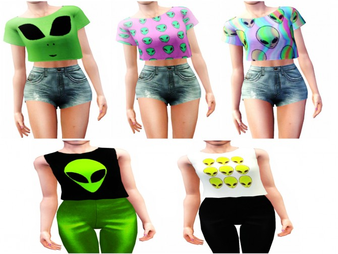 ALIEN TOPS part 2 at Lulufrosty frog image 973 Sims 4 Updates