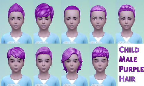 Male YA and child purple hair at Star's Sugary Pixels image 979 Sims 4 Updates