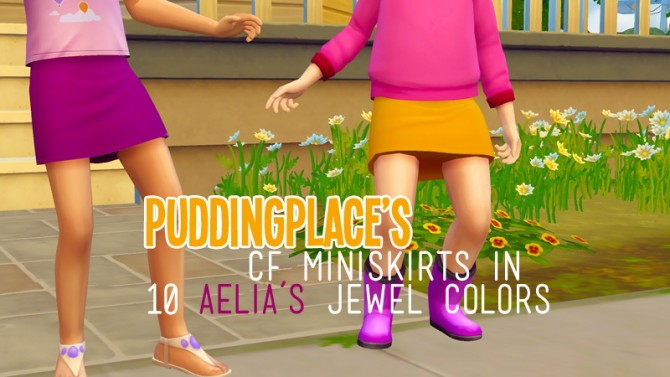 Sims 4 CF miniskirts in 10 of Aelia's Jewel Colors at Pudding Place