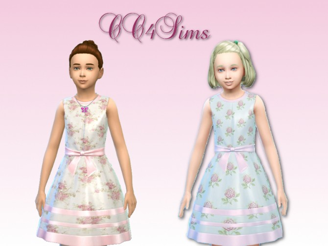 Sims 4 Pink floral dresses for kids by Christine at CC4Sims