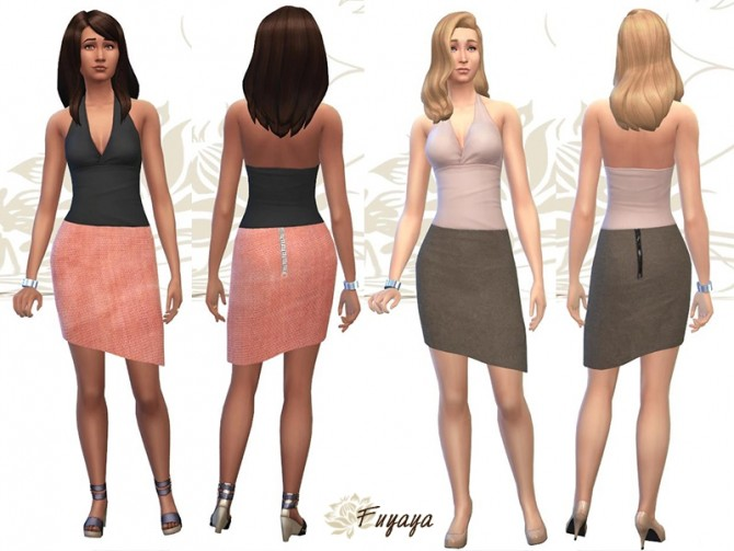 Sims 4 Asymmetrical leather skirt by Fuyaya at Sims Artists