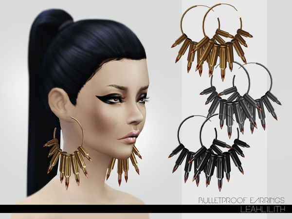 Bulletproof Earrings by Leah Lillith at TSR image 10107 Sims 4 Updates