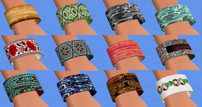 Sims 4 Wide bracelet (12 recolors) by Sauris at Mod The Sims