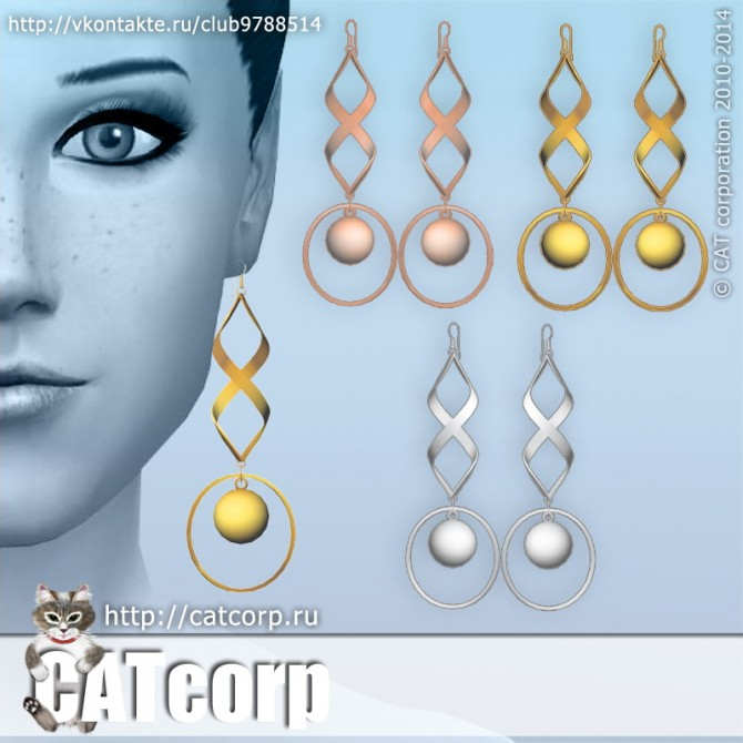 Sims 4 Metal Earrings Set at CATcorp