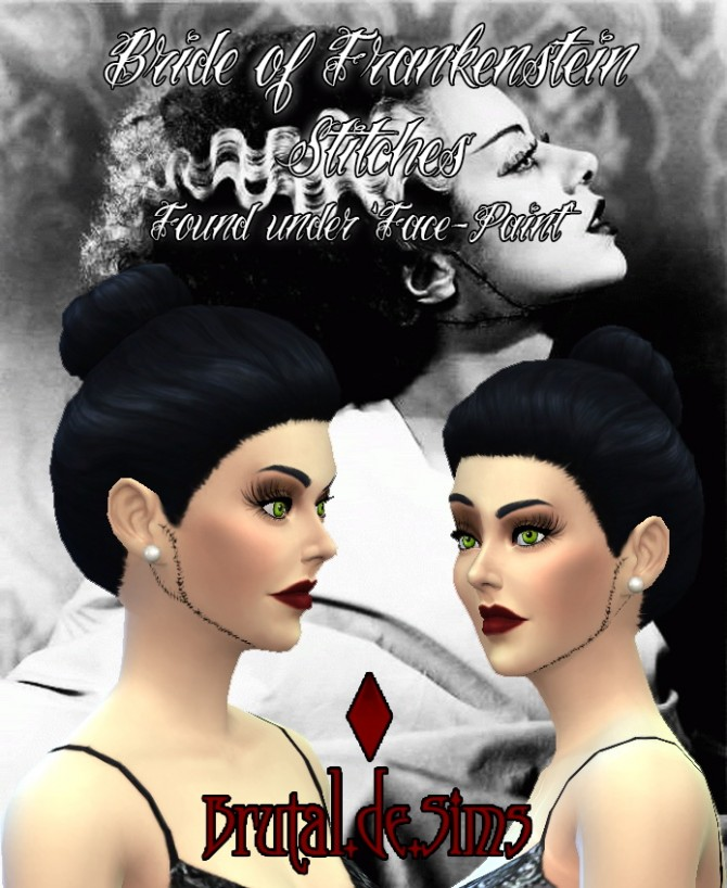 Bride of Frankenstein Stitches at Brutal de Sims4 » Sims 4