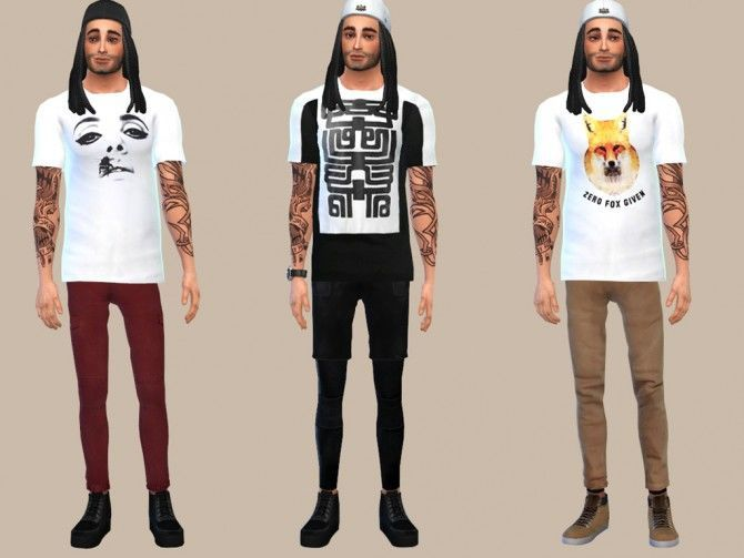 WHITE GRAPHIC TEES at The Young Enzo image 103110 Sims 4 Updates