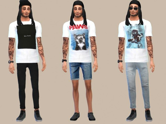 WHITE GRAPHIC TEES at The Young Enzo image 10418 Sims 4 Updates