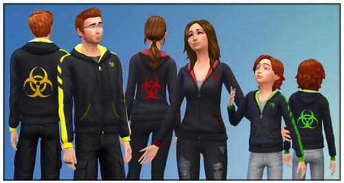 Sims 4 Hoodies with Radioactive and Biohazard logo at Gefa Sims