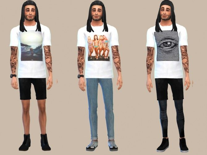 WHITE GRAPHIC TEES at The Young Enzo image 10517 Sims 4 Updates