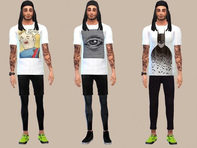 WHITE GRAPHIC TEES at The Young Enzo image 10616 Sims 4 Updates