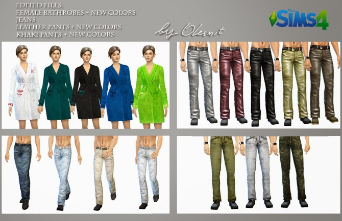 Sims 4 Edited bathrobes, jeans and leather pants  by Olesmit at OleSims