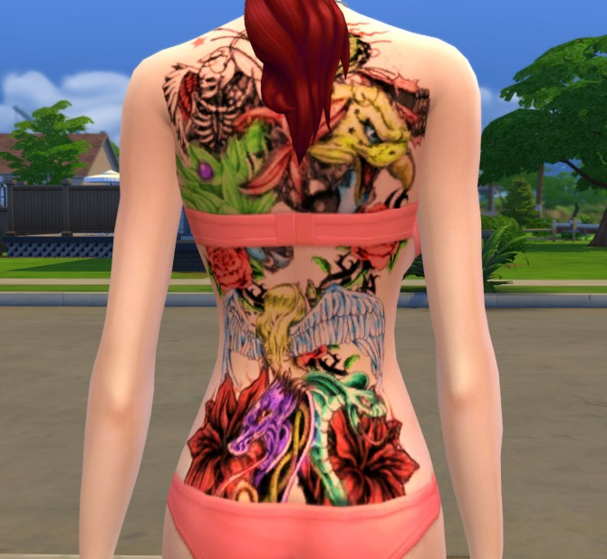 Colorfull fantasy tattoo (full back) by pymonte at Mod The Sims image 1129 Sims 4 Updates