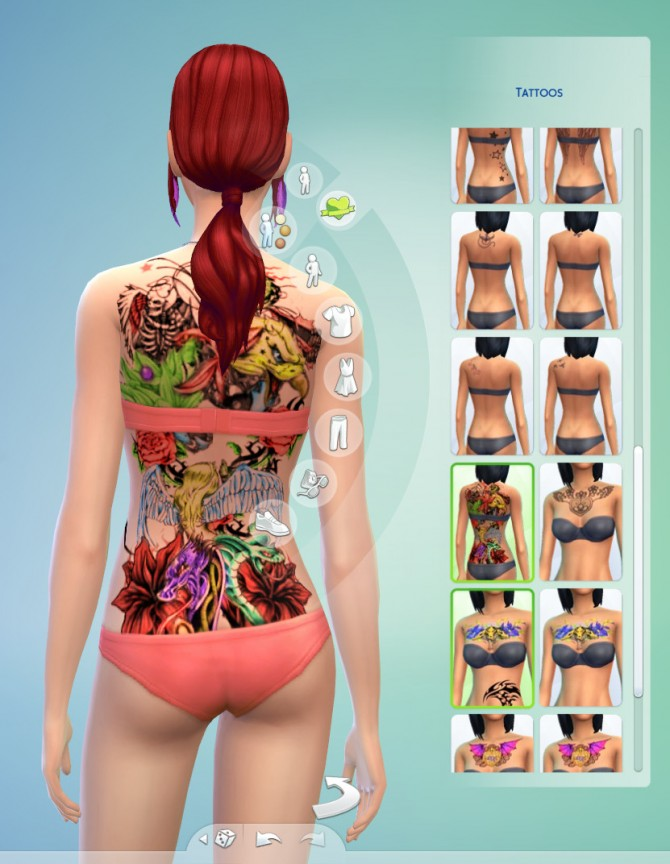 Colorfull fantasy tattoo (full back) by pymonte at Mod The Sims image 1135 Sims 4 Updates