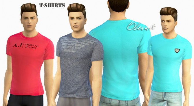 Sims 4 Male T Shirts and denim shorts by Olesmit at OleSims