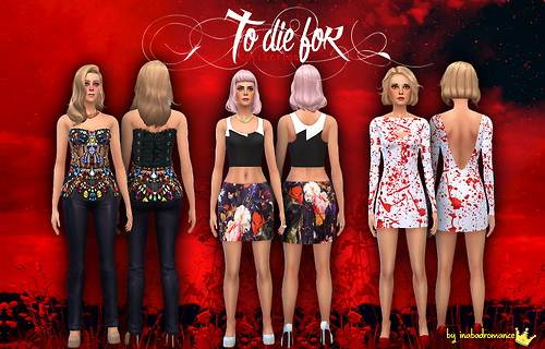 Sims 4 Halloween ish top, skirt and dress at In a bad Romance