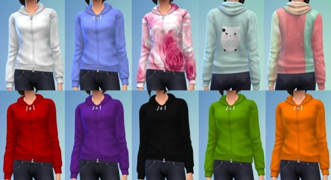 Sims 4 10 Zipped Hoodie Recolors at The Simsperience