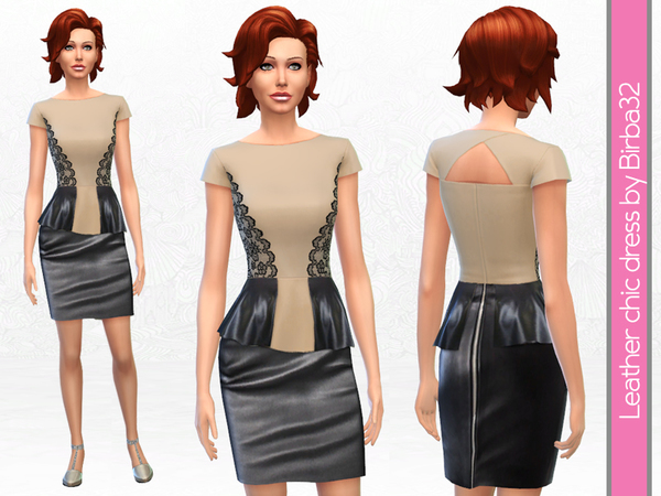 Leather and lace dress by Birba32 at TSR image 1270 Sims 4 Updates