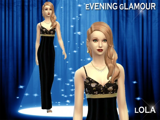 Sims 4 Glam evening dress + granny glamour by Lola at Sims and Just Stuff
