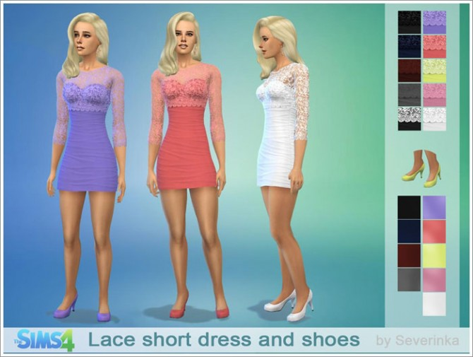 Sims 4 Lace short coctail dress and shoes at Sims by Severinka