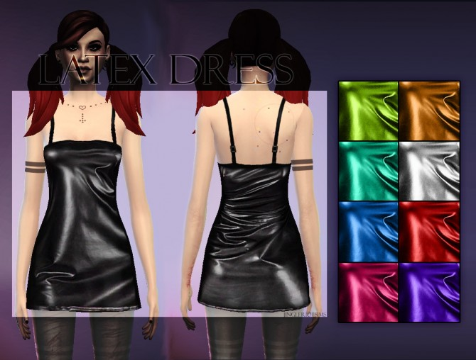 Shiny Latex Dress at Jingleriot's Sims image 1411 Sims 4 Updates