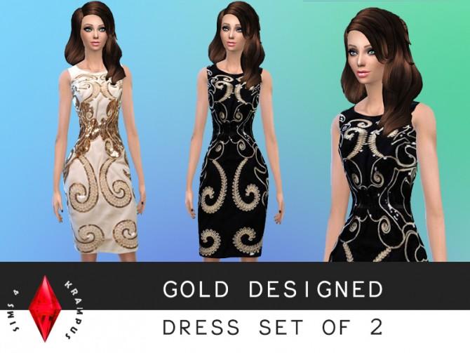 Sims 4 Gold designed/embellished dresses at Sims 4 Krampus
