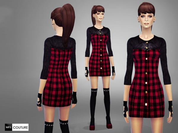 Tartan Mini Dress by MissFortune at TSR image 1425 Sims 4 Updates