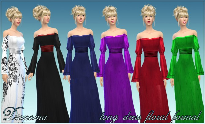 Sims 4 Long Dress Floral Formal by Dianama at Saratella's Place
